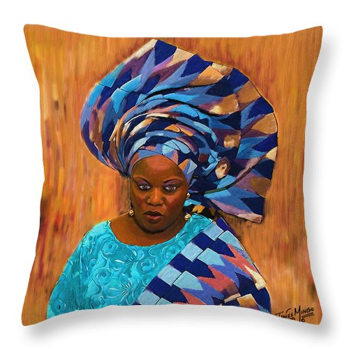 African Throw Pillow featuring the painting African Woman 5 by James Mingo