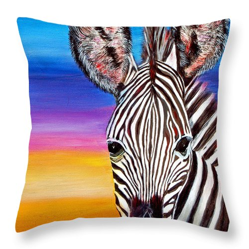 Zebra Throw Pillow featuring the painting African Zebra Aura by Donna Proctor