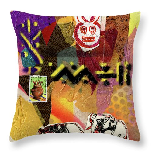 Everett Spruill Throw Pillow featuring the painting Afro Collage - O by Everett Spruill