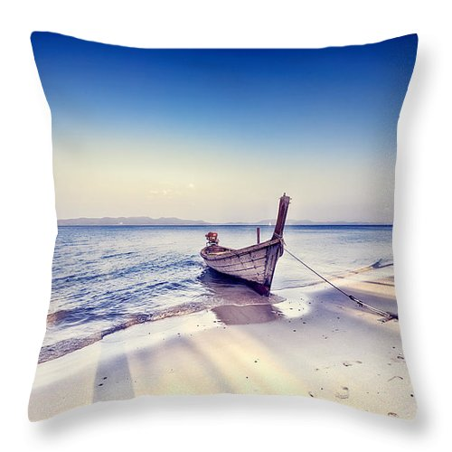 Boat Throw Pillow featuring the photograph After A Hard Day by Radek Spanninger