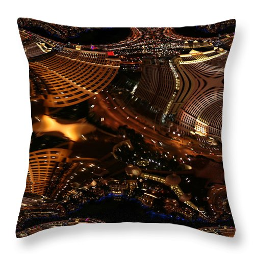 Las Vegas City The Strip Night Photograph Belagio Paris Caesars Palace Night Life Throw Pillow featuring the photograph After A Night In Vegas by Andrea Lawrence