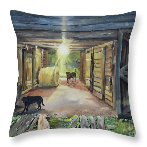 Barn Throw Pillow featuring the painting After Hours In Pa's Barn - Barn Lights - Labs by Jan Dappen