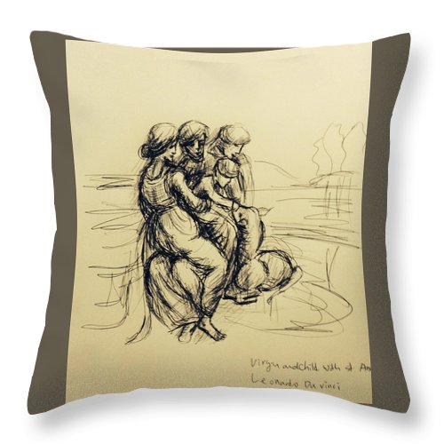 Pen Drawing Of Virgin And Child With St Anne Throw Pillow featuring the drawing After Leonardo Da Vinci by Hae Kim