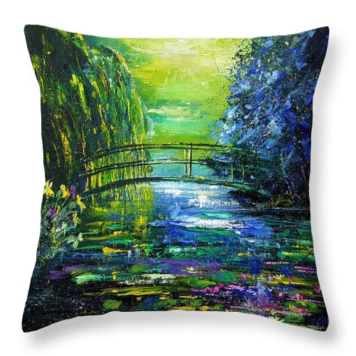 Pond Throw Pillow featuring the painting After Monet by Pol Ledent