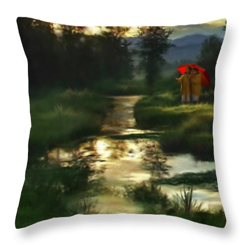 Boys Throw Pillow featuring the digital art After Morning Rain by Stephen Lucas