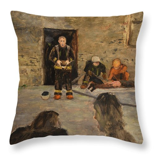 Fire Throw Pillow featuring the painting After The Fire by Oleg Konin
