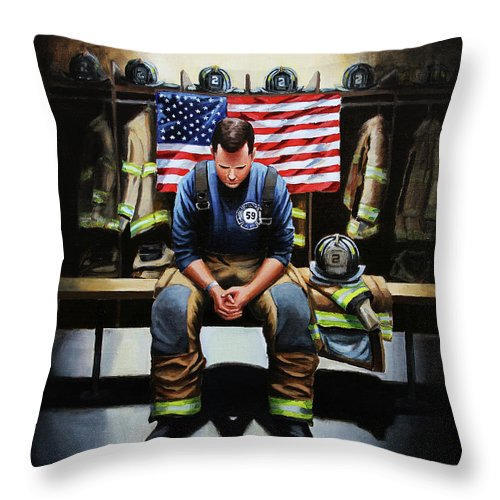 Firefighter Throw Pillow featuring the painting After The Fire by Paul Walsh