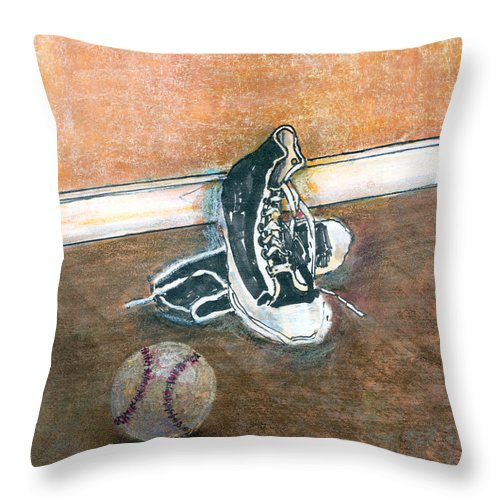 Tennis Shoes Throw Pillow featuring the mixed media After The Game by Arline Wagner