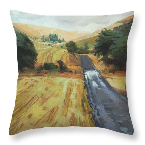 Country Throw Pillow featuring the painting After The Harvest Rain by Steve Henderson