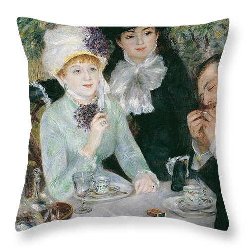 Pierre-auguste Renoir Throw Pillow featuring the painting After The Luncheon by Pierre-Auguste Renoir