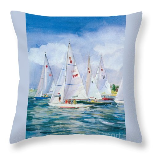 Paintings Throw Pillow featuring the painting After The Race by P Anthony Visco