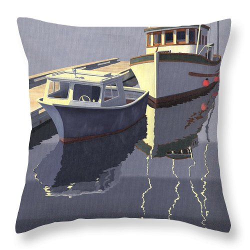 Boat Throw Pillow featuring the painting After the rain by Gary Giacomelli