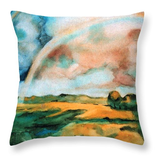 Landscape Throw Pillow featuring the painting After The Rain by Iliyan Bozhanov