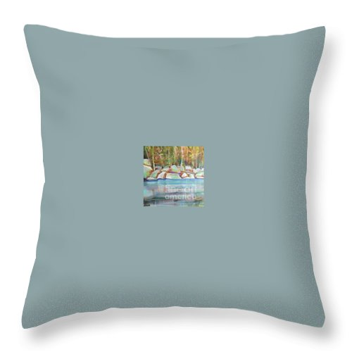 Landscape Throw Pillow featuring the painting After The Rain by Karen Sloan