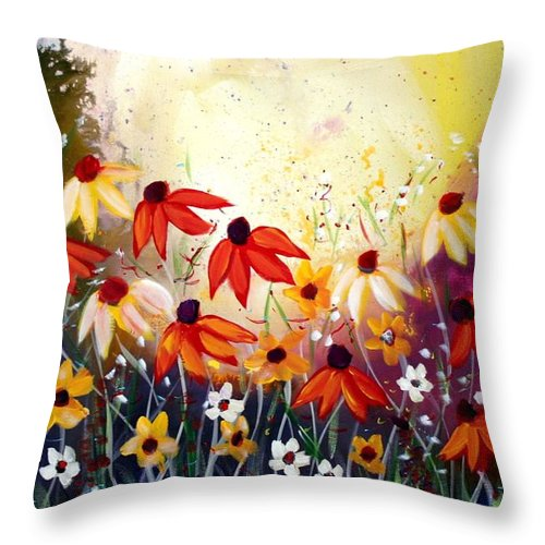 Flowers Throw Pillow featuring the painting After The Rain by Luiza Vizoli