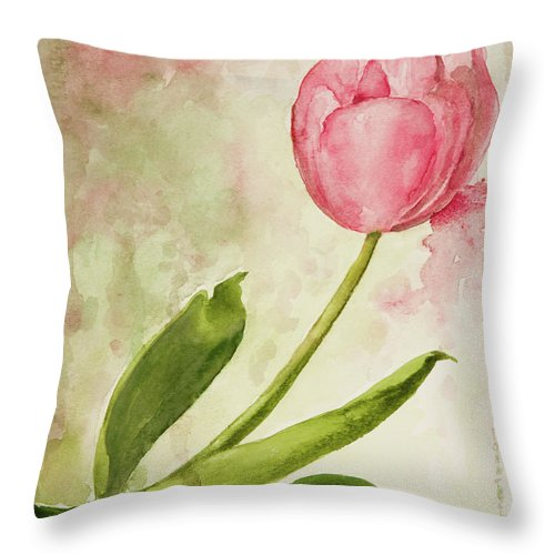Kathryn Donatelli Watercolors Throw Pillow featuring the painting After The Rain Tulip 2 by Kathryn Donatelli