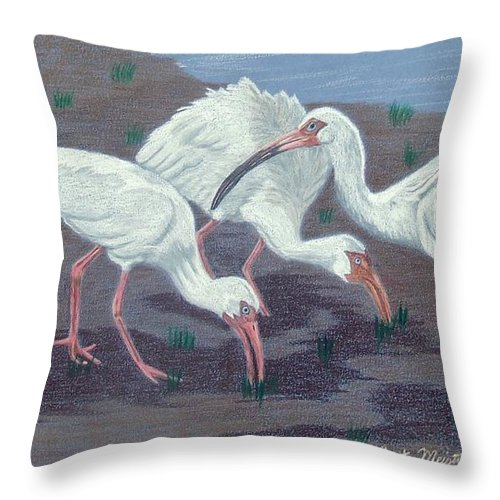 Ibis Throw Pillow featuring the painting After The Rains by Anita Putman
