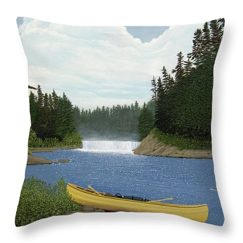 Landscapes Throw Pillow featuring the painting After The Rapids by Kenneth M Kirsch