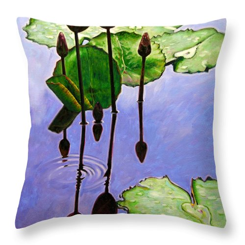 Rose Colored Water Lilies After A Morning Shower With Dark Reflections And Water Ripple. Throw Pillow featuring the painting After The Shower by John Lautermilch