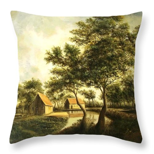 Canvas Print Landscape Throw Pillow featuring the painting After The Storm by Madeleine Holzberg