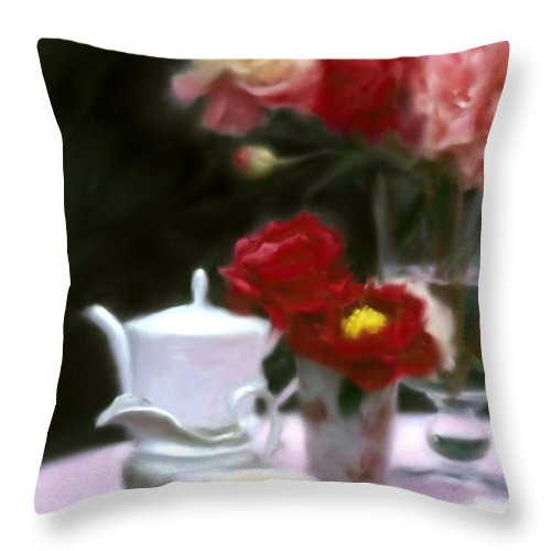 Peonies Throw Pillow featuring the digital art Afternnon Tea With Peonies by Stephen Lucas