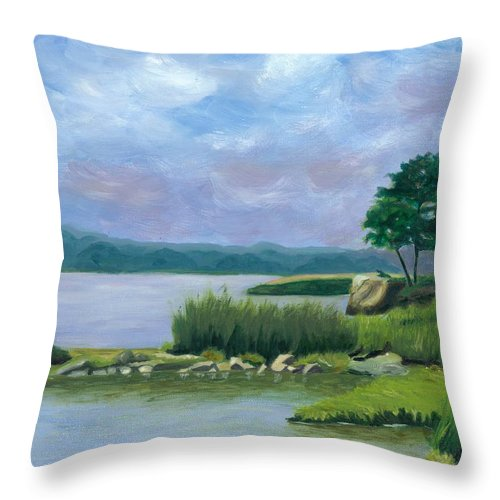 Seascape Throw Pillow featuring the painting Afternoon At Pilgrim by Paula Emery