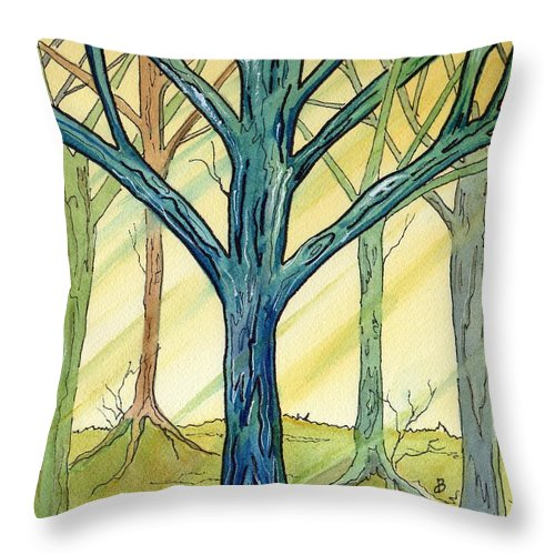 Watercolor Throw Pillow featuring the painting Afternoon Light by Brenda Owen