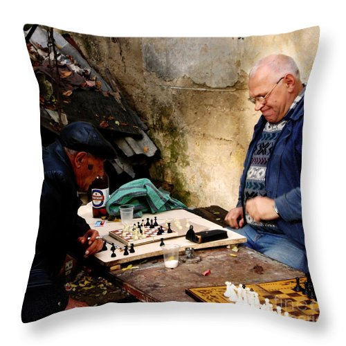 Chess Throw Pillow featuring the photograph Afternoon Match by Jeff Barrett