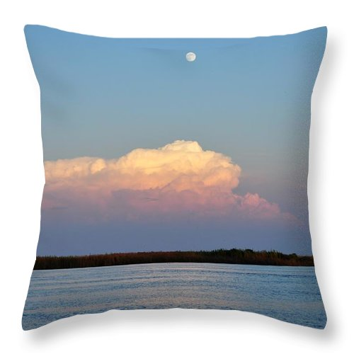 Apalachicola Bay Throw Pillow featuring the photograph Afternoon Moon - Apalachicola Bay by Mark Stratton