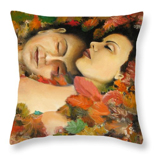 After The Loving Throw Pillow featuring the painting Afternoon Of A Fawn by Leonardo Ruggieri