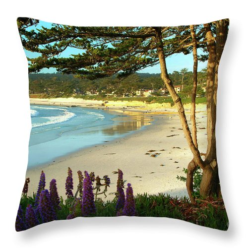 Carmel-by-the-sea Throw Pillow featuring the photograph Afternoon On Carmel Beach by Charlene Mitchell