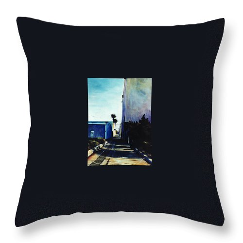 Cityscapes Throw Pillow featuring the painting Afternoon Shade by Duke Windsor