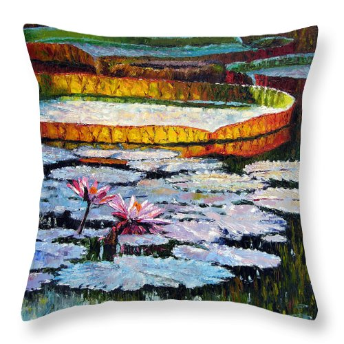 Water Lilies Throw Pillow featuring the painting Afternoon Shadows by John Lautermilch