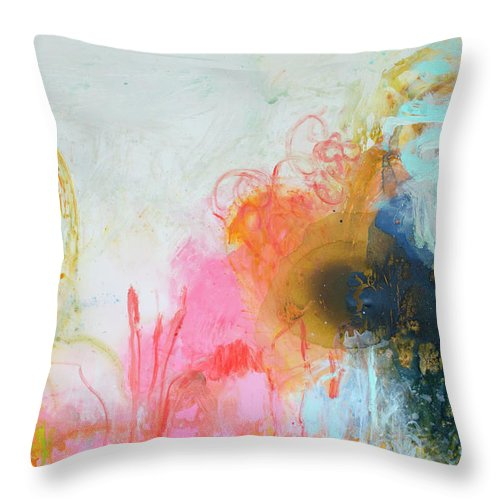 Abstract Throw Pillow featuring the painting Afternoon Snooze by Claire Desjardins