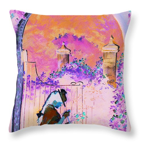 Rose Throw Pillow featuring the painting Afternoon Stroll by Jean Hildebrant