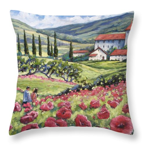 Tuscan Throw Pillow featuring the painting Afternoon Stroll by Richard T Pranke