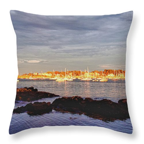#jefffolger Throw Pillow featuring the photograph Afternoon Sun On Marblehead Neck by Jeff Folger