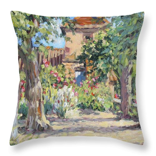 France Throw Pillow featuring the painting Afternoon Tea by L Diane Johnson