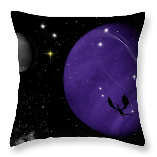 Dragon Throw Pillow featuring the digital art Again They Rise by Rhonda Barrett