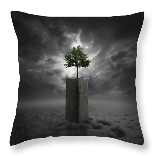 Cloud Throw Pillow featuring the digital art Against All Odds by Zoltan Toth