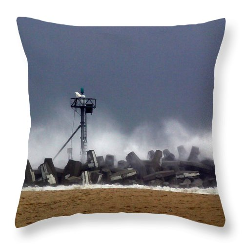 Seascape Throw Pillow featuring the photograph Against The Breakers by Mary Haber