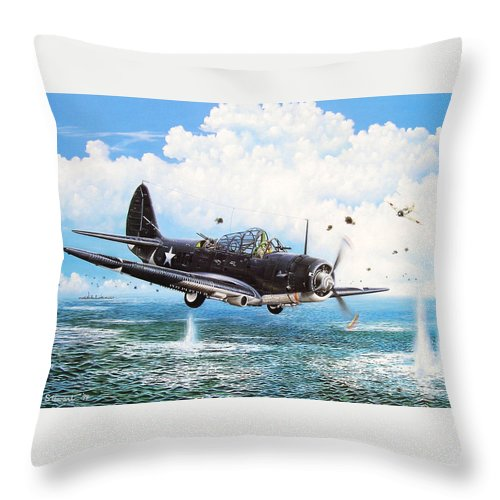 Military Throw Pillow featuring the painting Against The Odds by Marc Stewart