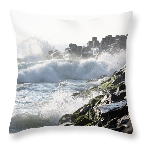 Jetty Throw Pillow featuring the photograph Against The Rocks by Mary Haber