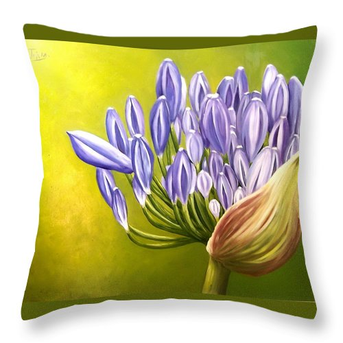 Flower Throw Pillow featuring the painting Agapanthos by Natalia Tejera