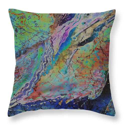 Agates Throw Pillow featuring the painting Agate Inspiration - 21b by Sue Duda