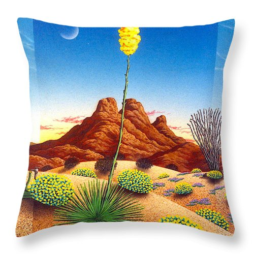 Agave Cactus Throw Pillow featuring the painting Agave Bloom by Snake Jagger