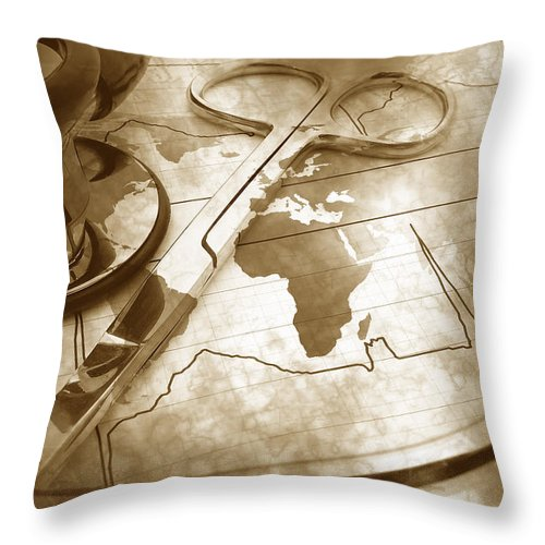 Map Throw Pillow featuring the photograph Aged Medical Tools by Phill Petrovic
