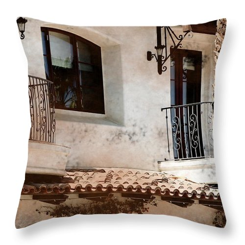 Aged Photograph Throw Pillow featuring the photograph Aged Stucco Building Balcony with Terracotta Roof by Colleen Cornelius