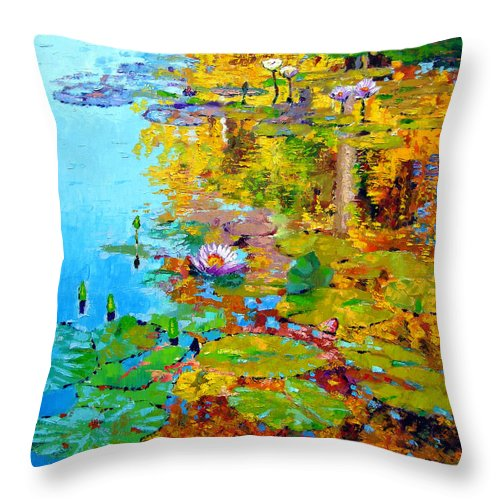 Fall Throw Pillow featuring the painting Aglow With Fall by John Lautermilch