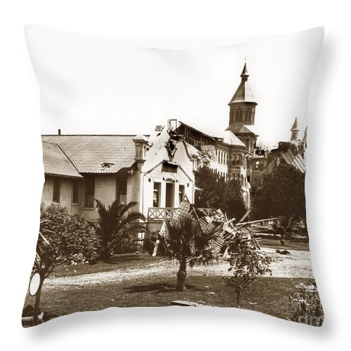 Agnew Throw Pillow featuring the photograph Agnews State Hospital San Jose Calif. 1906 by California Views Archives Mr Pat Hathaway Archives